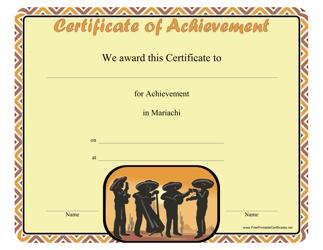 """""""Mariachi Achievement Certificate Template"""""""