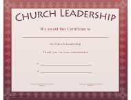 """Church Leadership Certificate Template"""