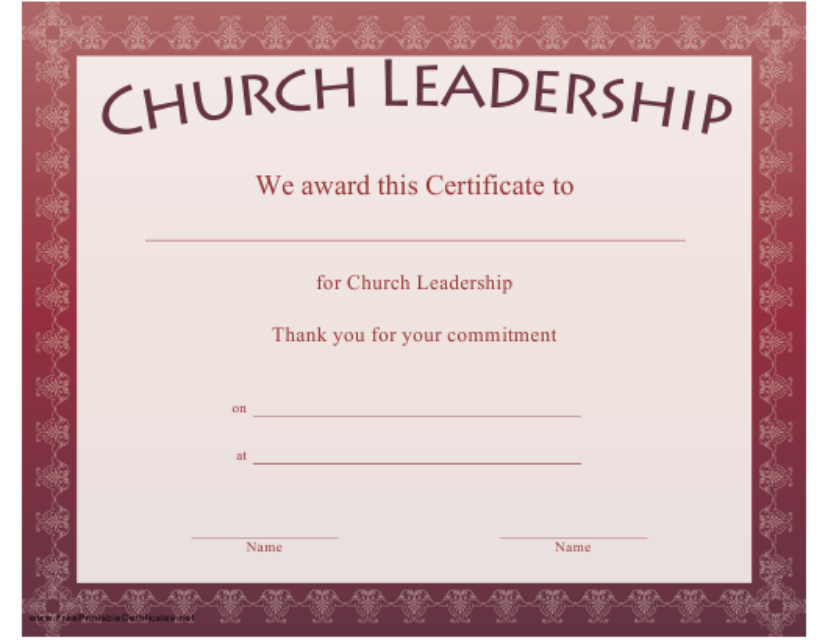 Church Leadership Certificate Template Download Printable Pdf