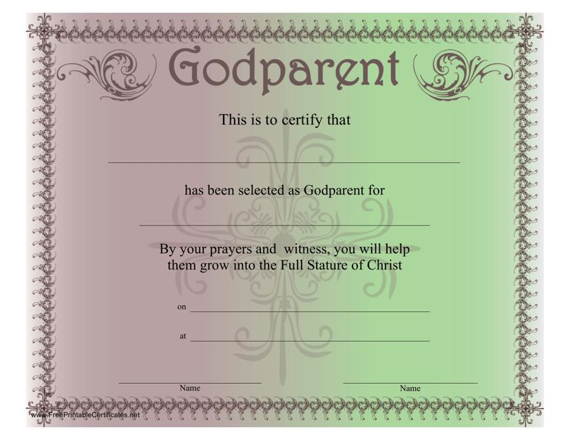 """Godparent Certificate Template"" Download Pdf"