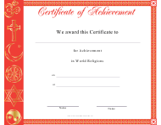 """World Religions Achievement Certificate Template"""