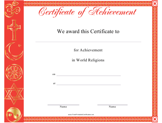 """World Religions Achievement Certificate Template"" Download Pdf"