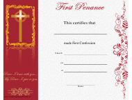"""First Penance Certificate Template"""
