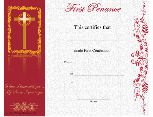 """First Penance Certificate Template"" Download Pdf"
