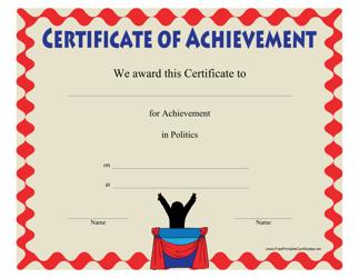 """Politics Achievement Certificate Template"""