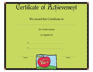 """""""Algebra II Achievement Certificate Template"""""""