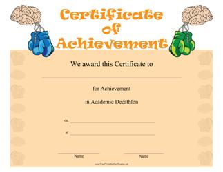 """Academic Decathlon Achievement Certificate Template"""