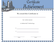 """Industrial Technology Achievement Certificate Template"""