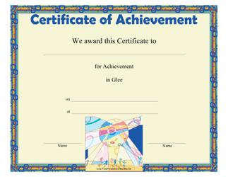 """Glee Achievement Certificate Template"""