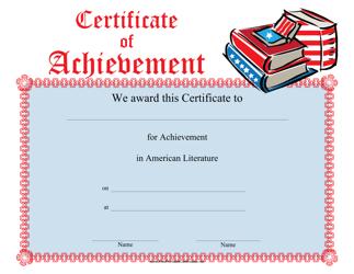 """""""American Literature Achievement Certificate Template"""""""