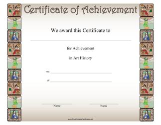 """Art History Achievement Certificate Template"""