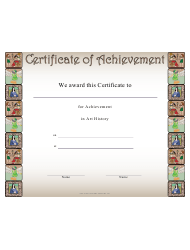 Art History Achievement Certificate Template