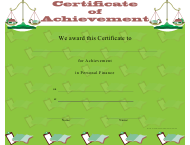 """Personal Finance Achievement Certificate Template"""