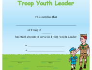 Troop Youth Leader Certificate Template