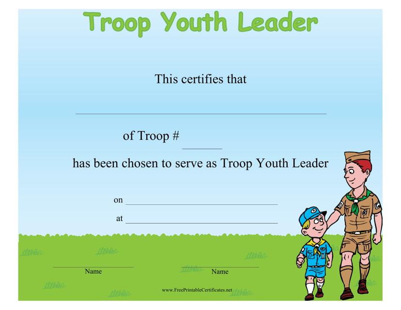Troop Youth Leader Certificate Template Download Pdf
