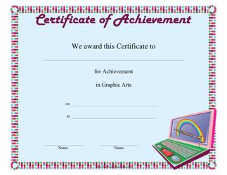 """Graphic Arts Achievement Certificate Template"""