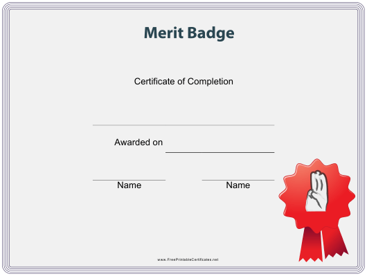 """Scout Merit Badge Certificate Template"" Download Pdf"