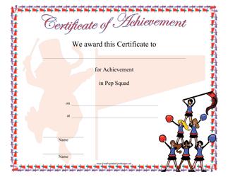 """Pep Squad Achievement Certificate Template"""