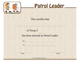 """Patrol Leader Certificate Template"""