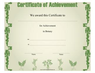 """Botany Achievement Certificate Template"""
