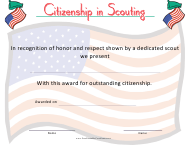 """Scouting Citizenship Certificate Template"""