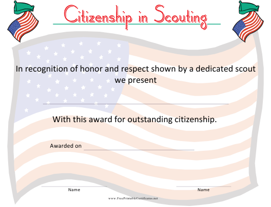 """""""Scouting Citizenship Certificate Template"""" Download Pdf"""