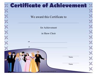 """""""Show Choir Achievement Certificate Template"""""""