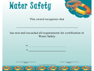 """Water Safety Certificate Template"""