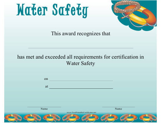 """""""Water Safety Certificate Template"""" Download Pdf"""
