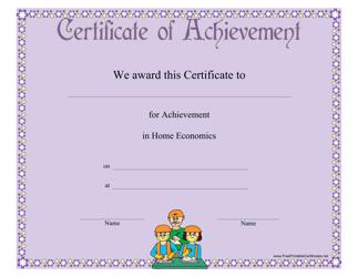 """Home Economics Achievement Certificate Template"""