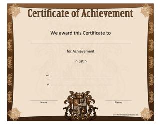 """Latin Achievement Certificate Template"""