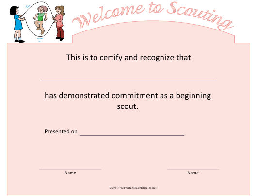 """Scouting Welcome Certificate Template"" Download Pdf"