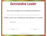 """Outstanding Leader Certificate Template"""