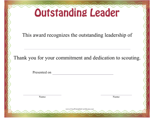 """""""Outstanding Leader Certificate Template"""" Download Pdf"""