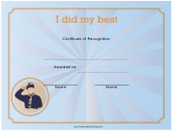 """""""I Did My Best Certificate of Recognition Template"""""""
