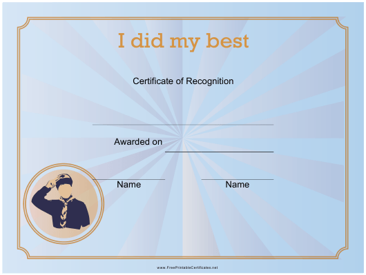 """I Did My Best Certificate of Recognition Template"" Download Pdf"