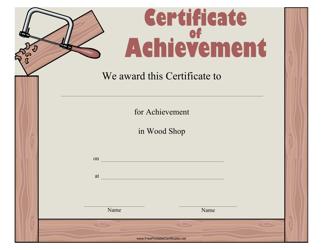 """Wood Shop Achievement Certificate Template"""