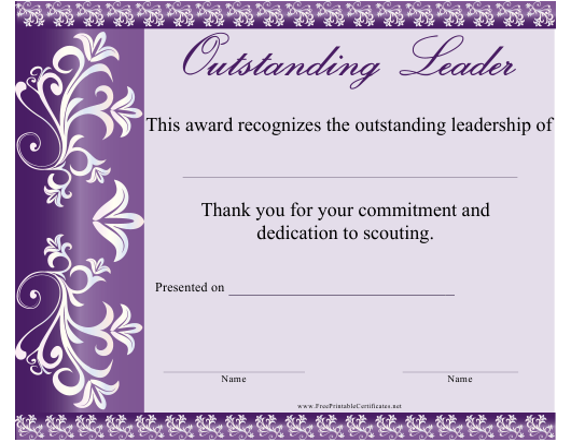 Outstanding Leadership Certificate Template Download Printable Pdf