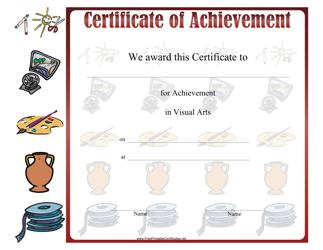 """""""Visual Arts Achievement Certificate Template"""""""