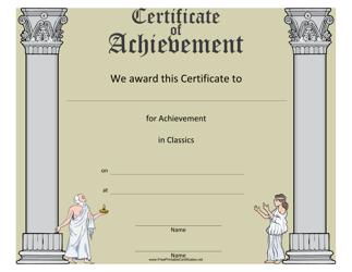 """""""Classics Achievement Certificate Template"""""""