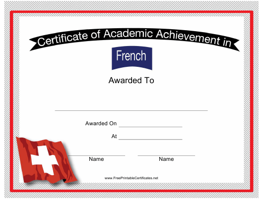 """French Language Achievement Certificate Template"" Download Pdf"
