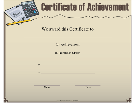 """""""Business Skills Certificate of Achievement Template"""" Download Pdf"""