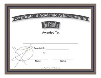 """Pre-calculus Academic Achievement Certificate Template"""