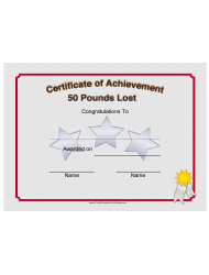 Weight Loss 50 Pounds Achievement Certificate Template