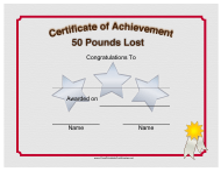"""Weight Loss 50 Pounds Achievement Certificate Template"""