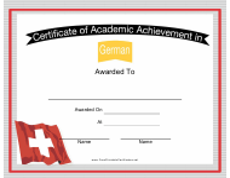 """German Language Achievement Certificate Template"""