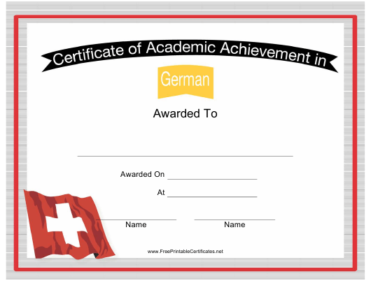 """German Language Achievement Certificate Template"" Download Pdf"