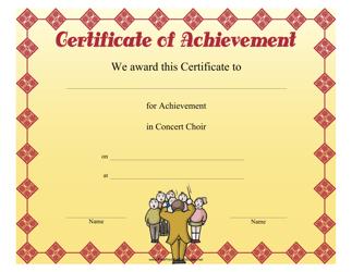 """""""Concert Choir Achievement Certificate Template"""""""