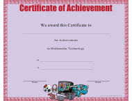 """Multimedia Technology Achievement Certificate Template"""