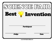 """Science Fair Best Invention Certificate Template"""